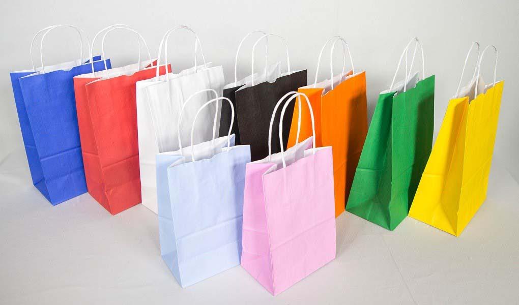 Fábrica de sacolas de papel coloridas